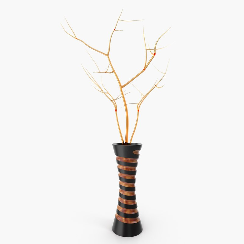 wooden vase decorated 3D