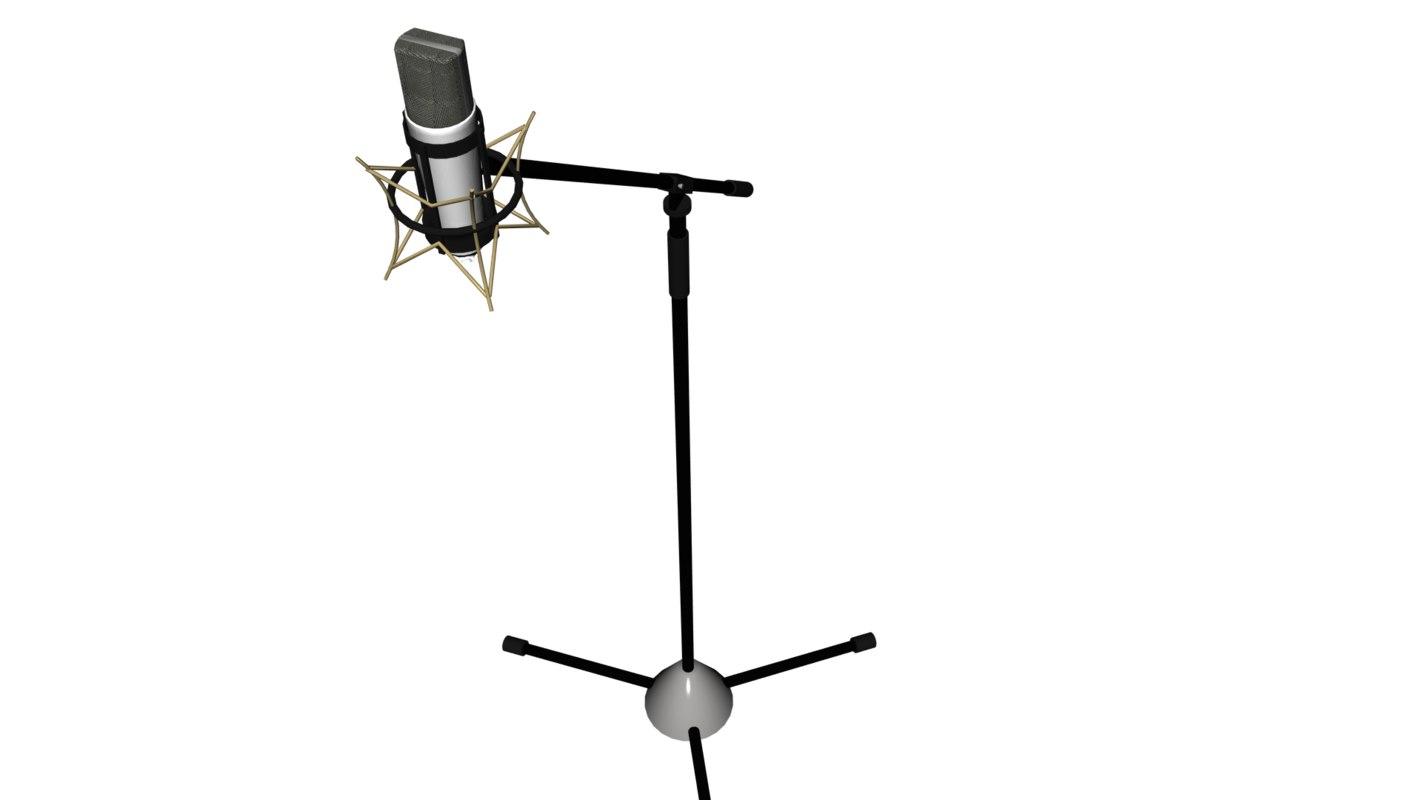 3D mic pedestal microphone model
