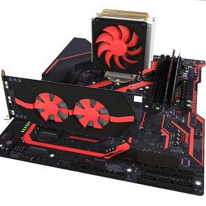 3D motherboard video card model