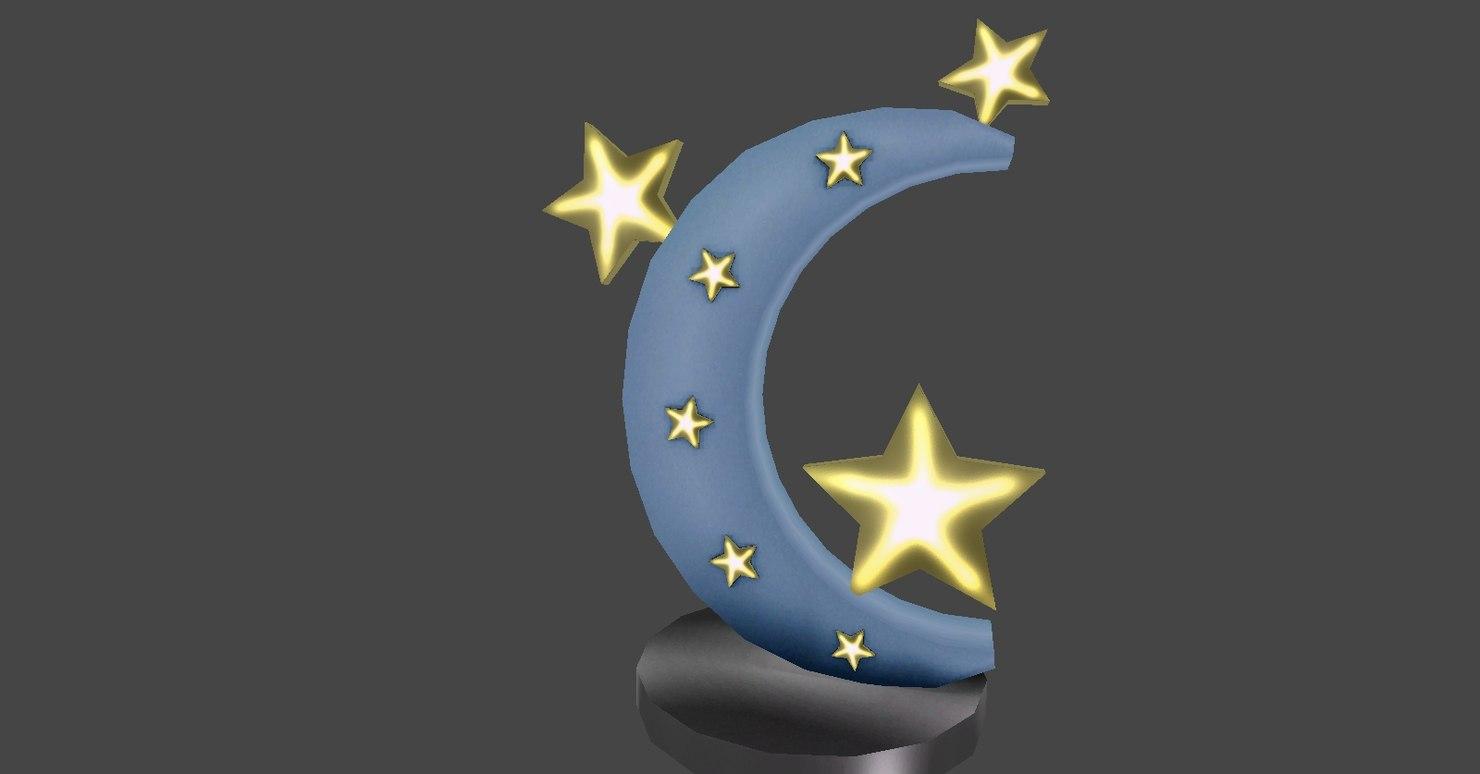 3D model star moon