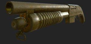 golden shotgun 3D model