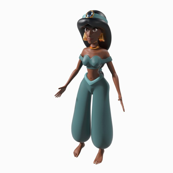 3D princess jasmine rigged model