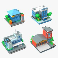 municipal buildings school hospital 3D model