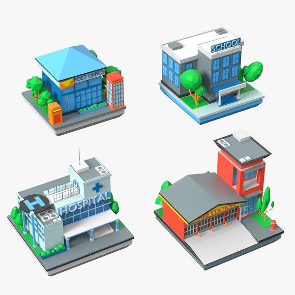 municipal buildings school hospital 3D model
