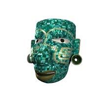 aztec warrior mosaic mask 3D model