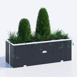3D polyrattan planter 108 model
