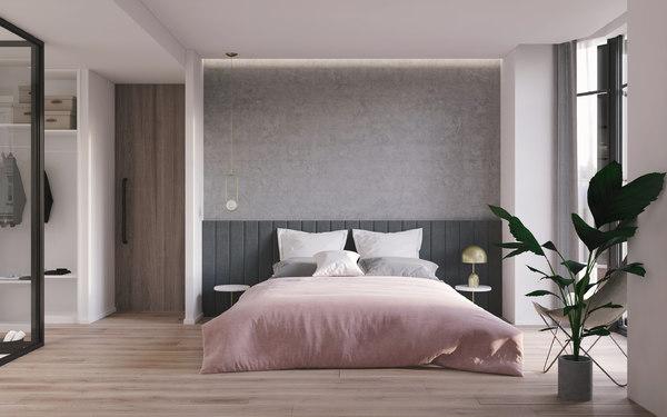 3D modern bedroom scene model