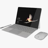Microsoft Surface Go + Type Covers & Mobile Mouse & Pen All Colors (Rigged & Animated)