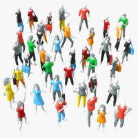 Cartoon Low Poly People Crowd