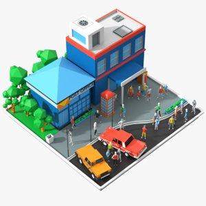 3D cartoon post office model