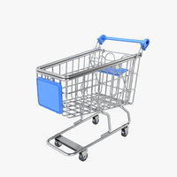 3D model trolley supermarket market