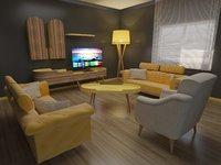 3D model vintage salon room furniture