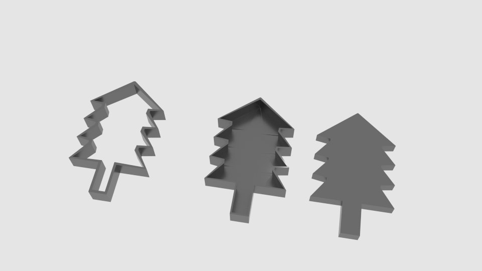 pinetree cookie cutter mold 3D model
