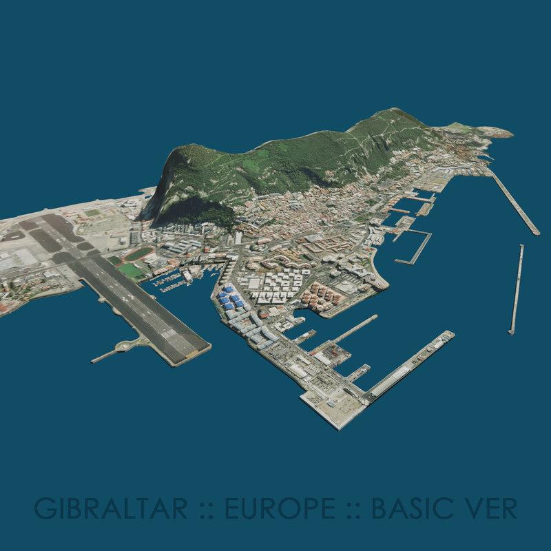 3D model simple gibraltar terrain