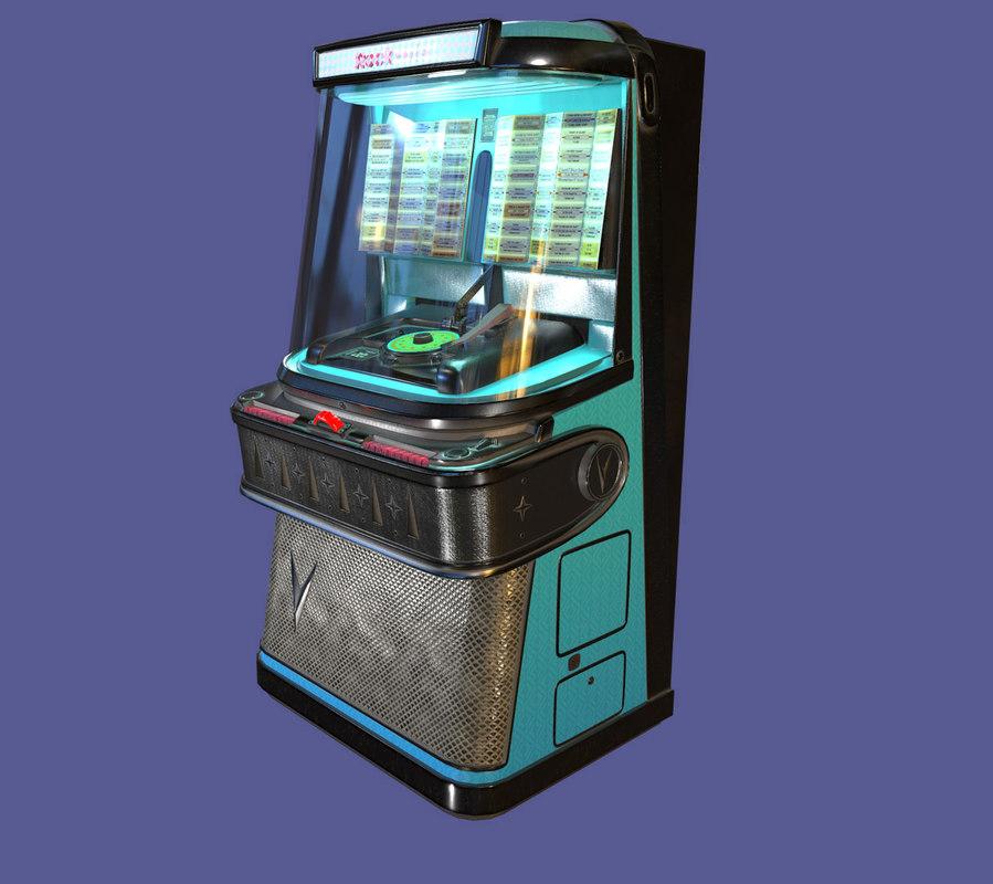 3D model old vintage retro rockola jukebox