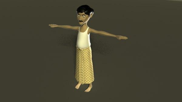 3D model human farmer