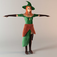 3D witch female character modeled