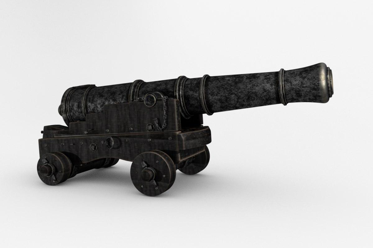 cannon naval pounder 3D model