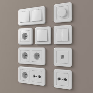 3D european outlets switches 2 model