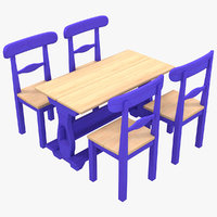Old Blue Country Sweden Style Dining Table and Chairs Set