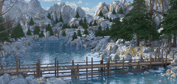 3D model bridge landscape river