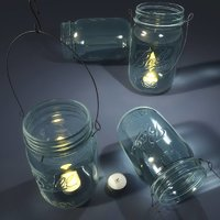 glass mason jar lantern model