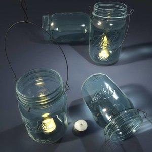 glass mason jar lantern model