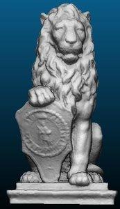 printable lion statue 3D model