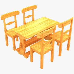 3D country sweden style dinning table