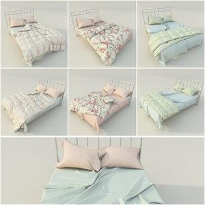 3D model beds linens pillows