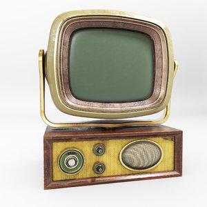 3D model retro vintage tv