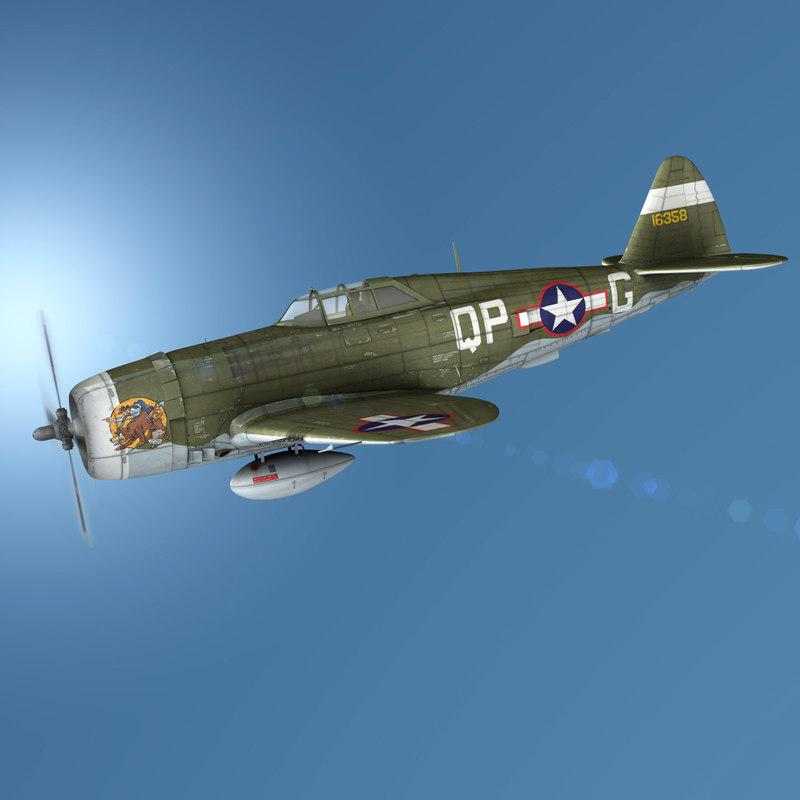 republic p-47c thunderbolt - 3D model