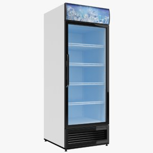 3D model single door fridge