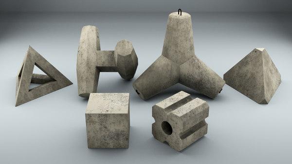 set concrete breakwater blocks 3D model
