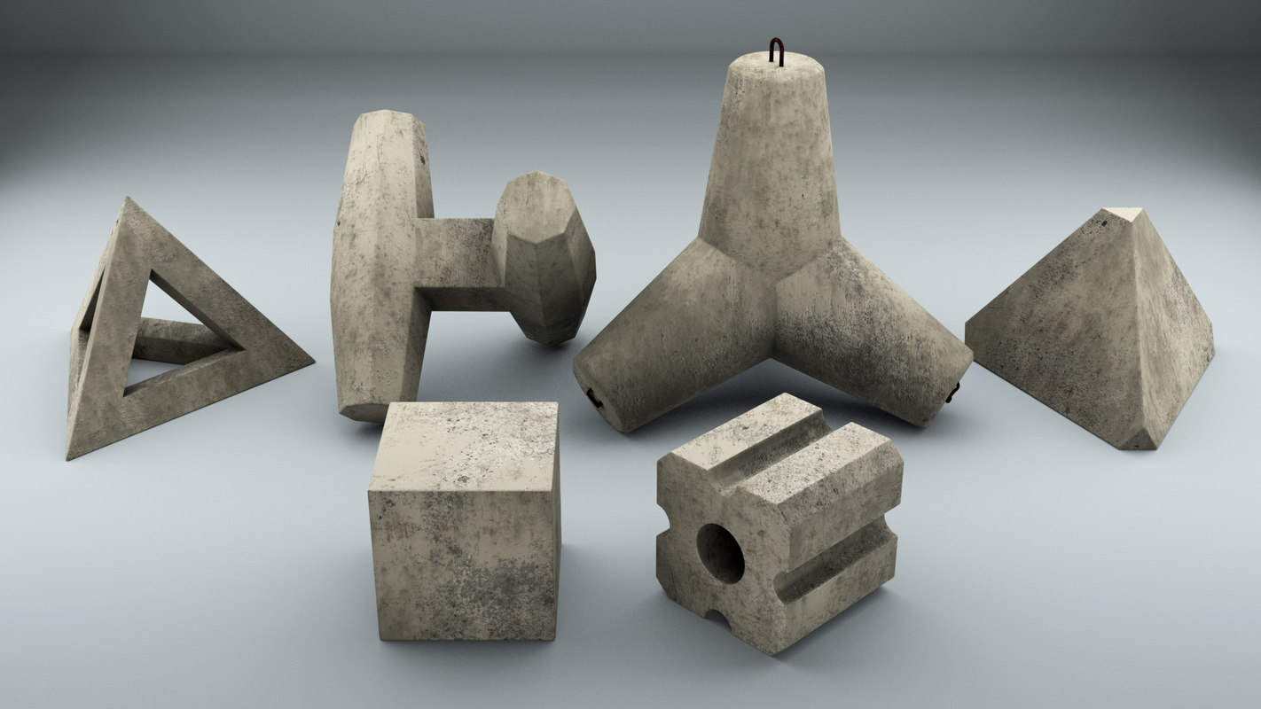 set concrete breakwater blocks 3D model