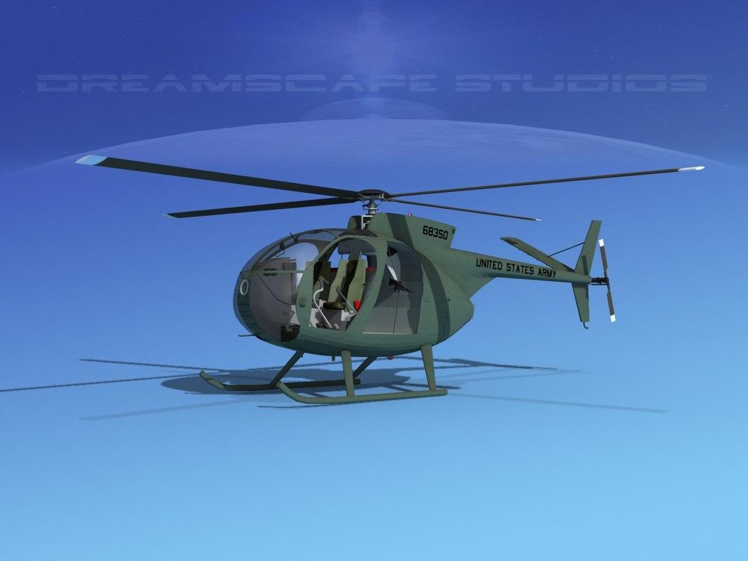 rotors hughes oh-6 cayuse 3D model