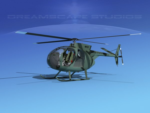 3D model rotors hughes oh-6 cayuse