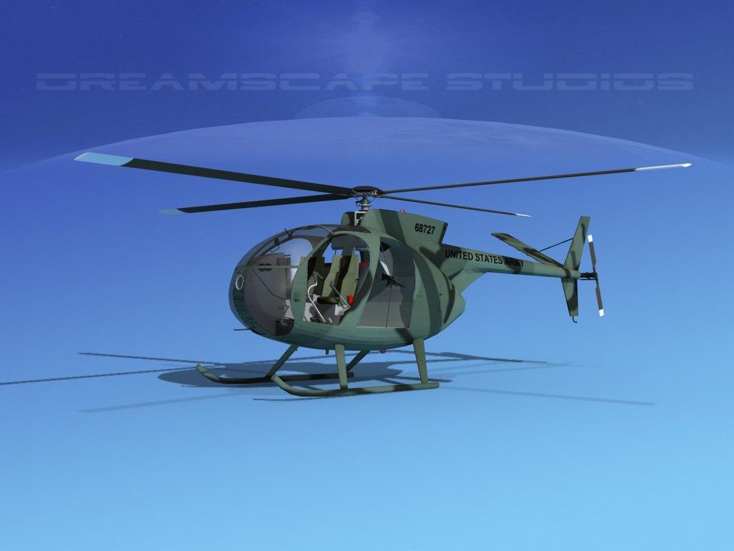 3D model rotors hughes oh-6 cayuse