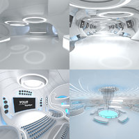sci-fi futuristic interior set 3D