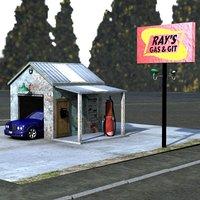 3D gas station poser