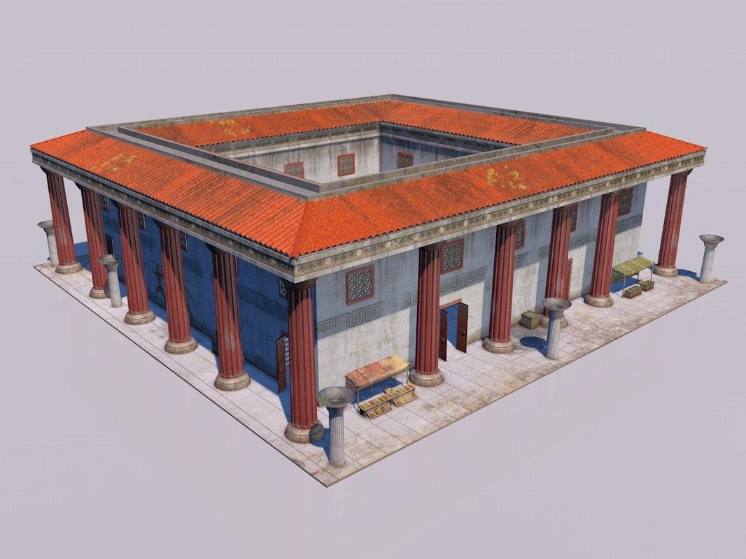 classical greek house 3D model