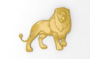 3D printable lion relief