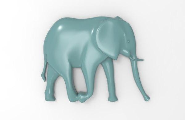 printable elephant relief 3D model
