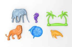 3D printable animal relief set