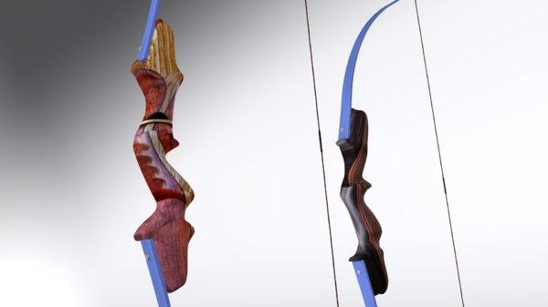 3D model takedown recurve bows
