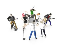 Low Poly People Playing Music Instrument