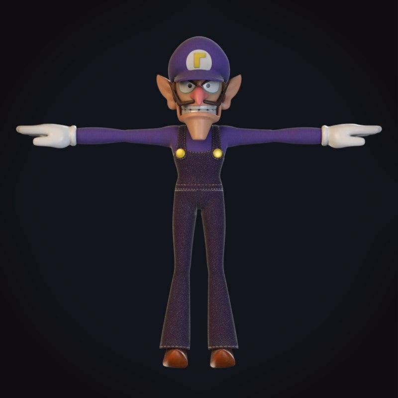 3D waluigi video character