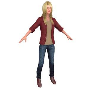 casual woman 3D model