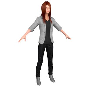 3D casual woman