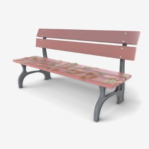 bench leafs 3D model